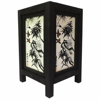 Harga Oriental Wooden Lamp - Bamboo and Nightingale (Black and White)
