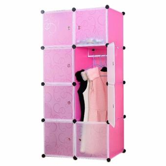 Tupper Cabinet White Doors 8 Cubes DIY Storage Wardrobe (Pink) Price Philippines
