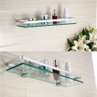 Harga Details about Glass Bathroom Shelf Rectangle Chrome Luxury Wall Mounted - intl