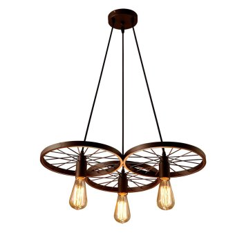 LIXADA 3 Arms E27 Hanging Metal Wheels Ceiling Pendant Light Vintage Industrial Retro Country Style Chandelier Dining Hall Restaurant Bar Cafe Lighting Use - Intl Price Philippines
