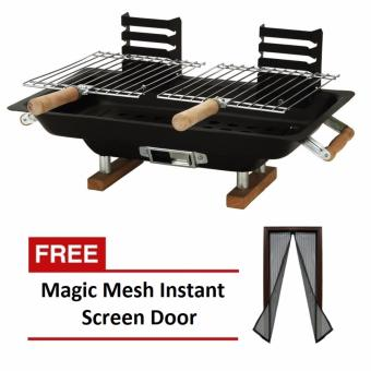 Hibachi Steel Charcoal BBQ Grill (Black) with FREE Magic Mesh Instant Screen Door (Black) Price Philippines
