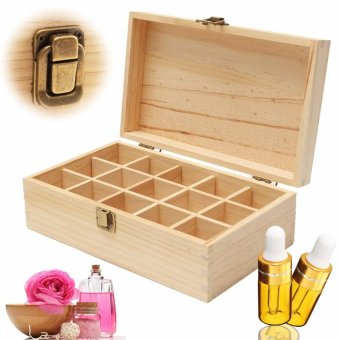 15 Slots Wooden Essential Oil Storage Box Delicate Functional Buckle Home Decor - intl Price Philippines