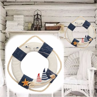 Harga Ring Beach Ocean Lifebuoy Shape Sailing Ship Boat Art Nautical Hand Wall Decoration Blue - intl