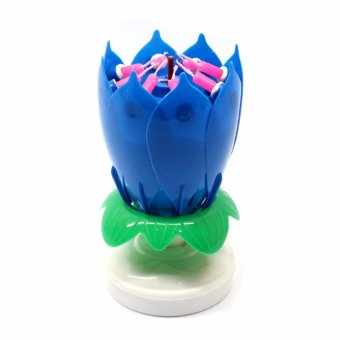 Harga LOVE&HOME Musical Lotus Flower Rotating Birthday Candle Light (Blue)