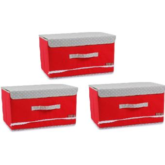 Harga Manhattan Homemaker Portable Collapsible Box Set of 3 (Red)