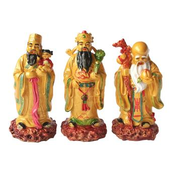 "Feng Shui 3WM-G Gold 3 Wise Men Fuk Luk Sau Star Gods Large Statue Figurine 7.5"" (Gold) Price Philippines"