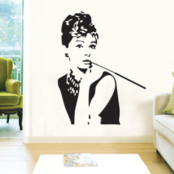 LT365 Audrey Hepburn Wall Sticker Removable Wall Decor(90x60CM) Price Philippines