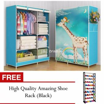 Harga GMY Quality Fashion 3D Panoramic View Simple Wardrobe (Giraffe) with FREE High Quality Amazing Shoerack (Black)