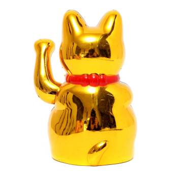 Harga Chinese Lucky Waving Gold Cat Figure with Moving Arm in Colourful Box Feng Shui