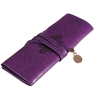 Retro Vintage Roll PU Make up Cosmetic Pencil Case Purple Price Philippines