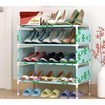 Stackable 4-Layer Shoe Rack (Green leaf) Price Philippines