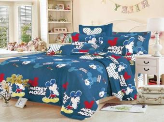 Harga KurstenShop 4in1 BedSheet Cotton Animated Mickey Mouse Design ( 2 pcs Pillow Case , 1 pcs Fittedsheet and 1 pcs Beadsheet)-Queen