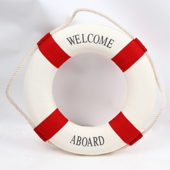 Harga Hanyu Welcome Aboard Cloth Navy Nautical Decor New – Decoration 25cm Buoy Mediterranean Style Artware Red - Intl