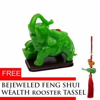 Harga Jade Mineral Green Elephant Figurines Statute with Wealth Rooster Tassel