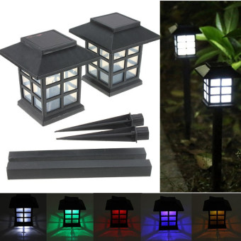 Harga HDL 2 x Outdoor Solar Oriental LED Lawn Path Yard Garden LightLandscape Stake Lamp Mult-Color