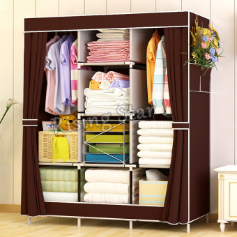 Harga Rising Star Fashion Simple Multifunction Cloth Wardrobe Storage Cabinets (Brown)