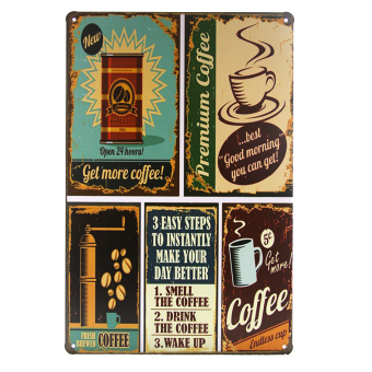 Vintage wall sticker coffee Tin Sign Art Metal Poster Bar Club wall Decor home decoration items F-56 (Intl) Price Philippines