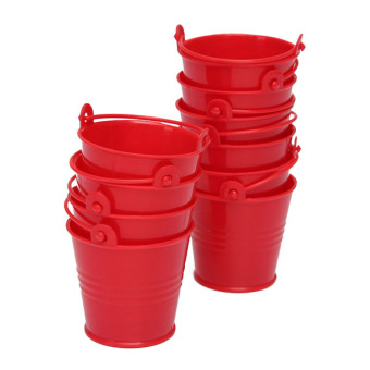 10x Mini Cute Bucket Colored Wedding Party Favour Keg Box Gift Pails Candy Lolly (Red) Price Philippines