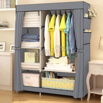 Harga Rising Star Fashion Multifunction Cloth Wardrobe Storage Cabinets (Grey)