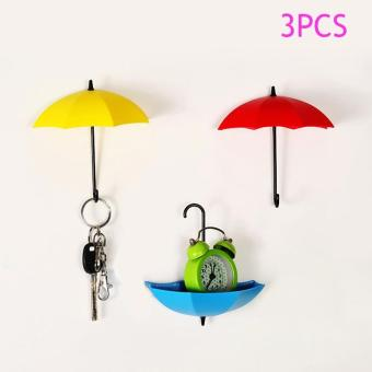Harga 3Pcs Colorful Umbrella Wall Hook Umbrella Wall Hooks - intl