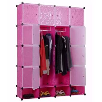Tupper Cabinet 16 Cubes Full DIY Wardrobe With Shoe Rack (Pink) Price Philippines