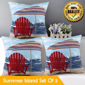 "Home Essentials Summer Island Canvas 16"" x 16"" Throw Pillow Case Set of 3 Price Philippines"