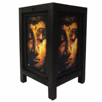 Harga Oriental Wooden Lamp - Buddha (Black and Gold)