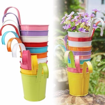 10pcs Flower Pots with Removable Handle Pot Plant Hanging 10 Colors Pots Flower Metal Iron Balcony Garden Home Decoration - intl Price Philippines