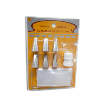 Sanneng Pastry Tips Set of 6 with 3pcs Disposable Pastry Bag and 1 coupler Price Philippines