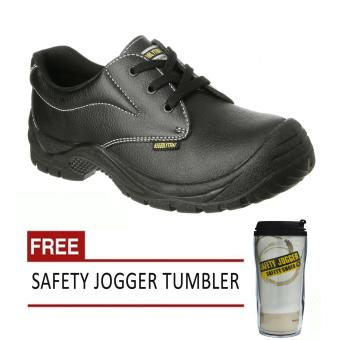 Harga Safety Jogger Safetyrun S1P Low Cut Men Safety Shoes Footwear Steel Toe (Black) with Free Safety Jogger Tumbler