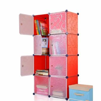 Portable Tupper Cabinet White Doors 8 Cubes DIY Storage Wardrobe (Red) Price Philippines