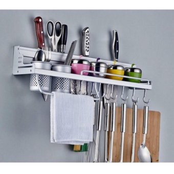 New 2017 Best Home Space Aluminium Kitchen Wall Mounted Utensil Hanging Storage Set Pot Pan Jar Rail Rack Chrome Price Philippines