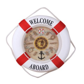 Harga 35cm Wall Door Hanging Nautical Coast Life Buoy Ring Clock Plaque Decor Red