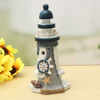 Harga Mediterranean Wooden Light House Tower Nautical Starfish Shell Lifebouy Decor - intl