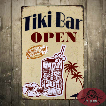 "T-ray TIN SIGN ""TIKI Bar Open"" Metal Decor Wall Art Soda Shop Store Kitchen - Intl Price Philippines"