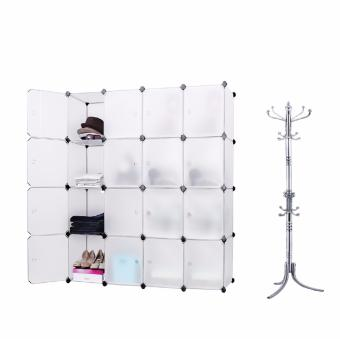 Tupper Cabinet 16 Cubes White Doors White DIY Storage Cabinet (White) with Stainless Steel 16 Hook Hat Coat Clothes Stand Rack Price Philippines