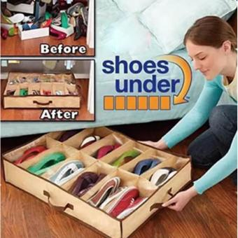 Home essential 12Pairs Shoes Organizer Holder Under Bed Closet Storage Fabric Bag 121g Price Philippines