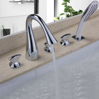 Harga Shower Faucet Five Holes tub Tap Two Handles Polish Chrome Solid Brass Bathtub Faucet Contemporary