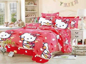 Harga StevenShop 4in1 5D BedSheet Animated Kitty with Star Design ( 2 pcs Pillow Case , 1 pcs Fittedsheet ,1 pcs Beadsheet )-Double