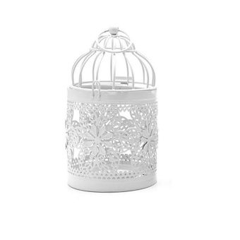 Metal White Holder Tealight Candlestick Hollow Hanging Lantern Bird Cage Vintage Wrought Candle Holders 14X8CM - intl Price Philippines