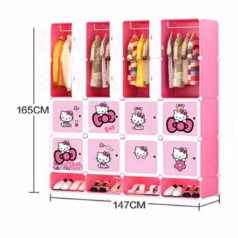 Tupper Cabinet 16 Cubes HK Fordable DIY Wardrobe With Shoe Rack (Pink) Price Philippines