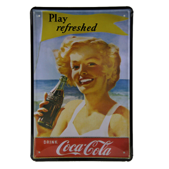 Play refreshed Drink Coke Vintage Tin Signs Bar pub home Wall Decor Retro Metal Poster F-25 20*30cm (Intl) Price Philippines