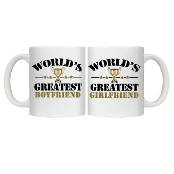 Harga CopyCut Couple Cute Statement Mug World's Greatest Boyfriend Girlfriend - Gift Set