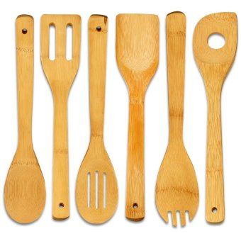 6pcs/set Wooden Spoon Set, Bamboo Cookware Sets Spoon Spatula ,Utensil Set Price Philippines