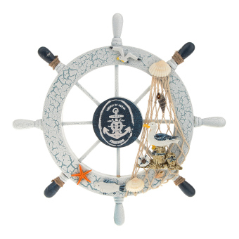 Harga Nautical Beach Wooden Boat Ship Wheel Fishing Net Sheel Home Wall Decor Bird (Intl) - intl