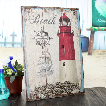Harga Vintage Wood Sign Plaque Cafe Bar Wall Picture Nautical Lighthouse Atr Decor A - intl