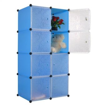 Keimav Portable Tupper Cabinet White Doors 8 Cubes DIY Storage Wardrobe (Blue) Price Philippines