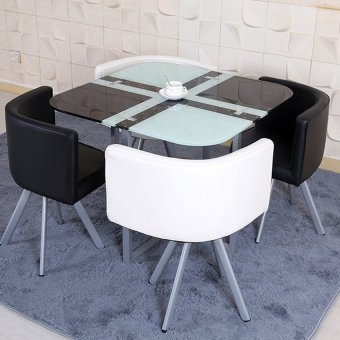 Harga D&D PZ-803 Creative Glass Dining or Office Table with 4 Chair Set (White+Black)
