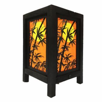 Harga Oriental Wooden Lamp or Lantern - Sunset Bamboo (Orange)