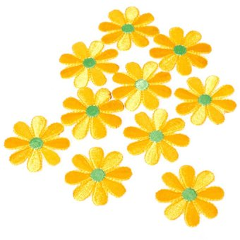 S & F Ten Pieces Embroidered Applique Flower Patch Yellow Price Philippines